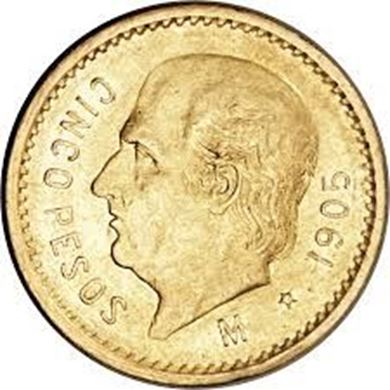 Picture of Gold Mexican 5 Peso
