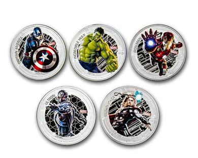 Picture of 2015 Nuie Colorized 1 oz. Silver Avengers Series of 5 Proof Set