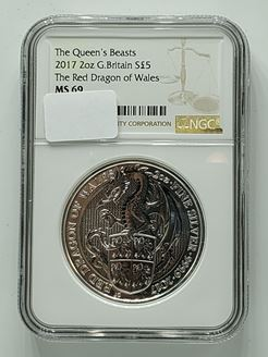 Picture of Queens Beast Red Dragon of Wales Certified NGC MS69 2017 Silver 2 oz