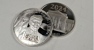 Picture of 2021 Donald Trump 4 More Years 1 oz Silver BU